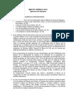 Brevet General Francais Corrige Complet