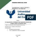 ARTICULO .-La Negociación y El Dialogo Como Manejo de Solución Del Conflicto Minero Las Bambas 2019