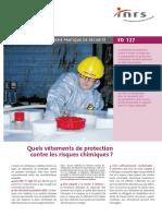 ED127 Quel vetement de protection contre les risques chimiques