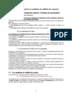 Cours Formation Et Condition de Validite Des Contrats
