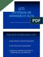Aula 3. Critérios de Admissão e Alta em UTI