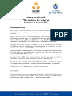 Informe de situación sobre coronavirus COVID-19 en Uruguay (28 06 2021)