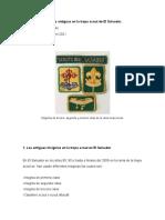 Insignias Antiguas en La Tropa Scout de El Salvador