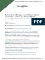 Exército alega 'informação pessoal' e impõe sigilo de até 100 anos a processo que absolveu Pazuello - 08_06_2021 - Poder - Folha