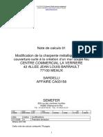 note de calculs  01 Modification de la charpente métallique centre commercial la verrière meaux sardelli ca03158