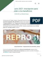 REPRO II Junio 2021_ Inscripción Para Acceder a Los Beneficios