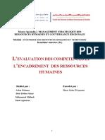 l'Evaluation Des Competences Et l'Encadrement Des Ressources Humaines