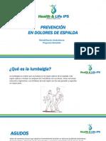 PREVENCIÓN EN DOLORES DE ESPALDA