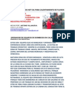 Procedimientos de Trabajo para Operadores y Ayudantes de equipos de calentamientos (hot oil)