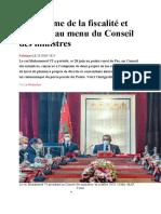 La réforme de la fiscalité et des EEP au menu du Conseil des ministres