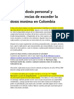 Sobre la dosis personal y consecuencias de exceder la dosis mínima en Colombia