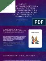 4.2  HABILIDADES DE LECTURA. (SELECTIVA,PANORAMICA,CRITICA, DE COMPRENSIÓN E INTERPRETACIÓN)