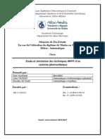 Etude Et Simulation Des Techniques MPPT d'Un Système Photovoltaïque