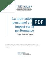 La motivation du personnel et son impact sur la performance