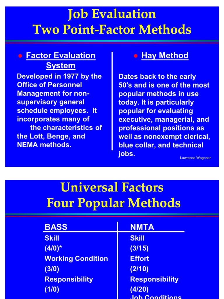 job evaluation system  a comparison