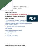 ATIVIDADE DE SOCIOLOGIA– 3º ANO