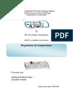 tp régulation de temperature