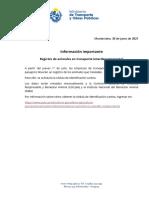 Registro de Animales en Transporte Interdepartamental
