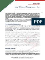 Entrepreneurship & Project Management - The Missing Link