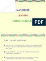 MANAGERS, LEADERS, ENTREPRENEURS