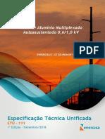 ETU111 Cabo de Alumínio Multiplexado Autossustentado 0.6_1.0 kV - Especificações Gerais