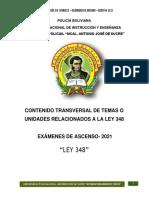 LEY 348 (CONTENIDO TRANSVERSAL DE TEMAS O UNIDADES RELACIONADOS A LA LEY)