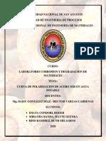 LABORATORIO N° 6 (CURVA DE POLARIZACION DE ACERO 1020 EN AGUA POTABLE)