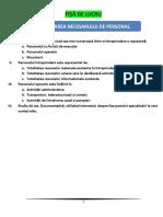 FISA de LUCRU - Planificarea Necesarului de Personal