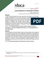 Artigo - A Gestão da Educação Infantil em 12 Municípios Paulistas - CORREA 2018