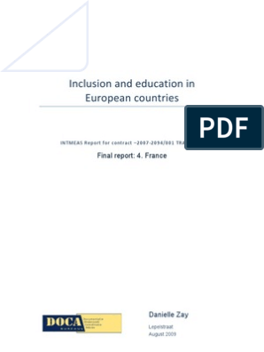 Inclusion And Education In European Countries France