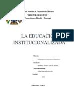 LA EDUCACIÓN INSTITUCIONALIZADA - QUIÑONES ALVAREZ LETICIA CAROLINA
