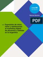 Exposición de niños, niñas y adolescentes al marketing digital de alimentos y bebidas en Argentina - Resumen Ejecutivo