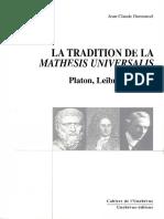 Dumoncel - La Tradition de La Mathesis Universalis. Platon, Leibniz, Russell