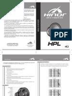 Manual - Woofer Hinor - HPL 400 12 4Ohms