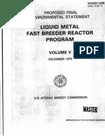 Liquid Metal Fast Breeder Reactor Program (Proposed Final Environmental Statement)(Volume V - December 1974)