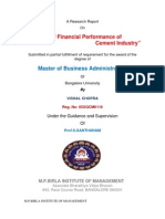 Analysis of Financial Performance of Cement Industry