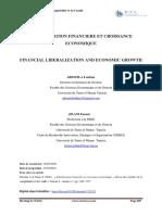 Libéralisation Financière Et Croissance Économique