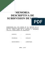 MEMORIA DESCRIPTIVA DE SUBDIVISION + SERVIDUMBRE DE PASO