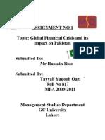 Tayyab Yaqoob Qazi,  Assignment on Global Finanacial Crisis and Its Impact on Pakistan