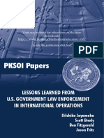 Lessons Learned from U.S. Government Law Enforcement in International Operations