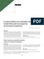 La salud pública como disciplina científica