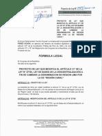 Proyecto de Ley Que Propone Cambiar de Nombre a La Región Lima