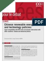 Affrontement Chine - Etats-Unis sur le financement des énergies renouvelables à l'OMC (IDDRI)