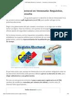 ▷ CNE Registro Electoral en Venezuela → Inscripción y Consulta de Datos