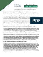 School Climate Leadership and Facilitation Course Descriptions