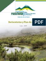 Declaratorias y Plan de Acción PARAMUNDI 2009