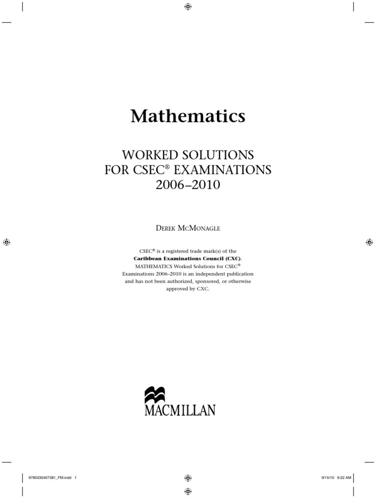 csec maths worked solutions test assessment multiple choice