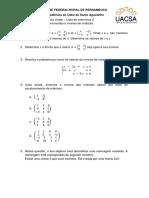 Lista 2 - Determinantes e inversas