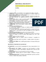 Memorial Descritivo Residencial- MODELO
