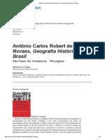 Antônio Carlos Robert de Moraes, Geografia Histórica do Brasil